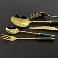 6/30pcs Ceramic White Gold Dinnerware Set Stainless Steel Cutlery Home Fork Spoon Knife Dinner Set Green Gold Flatware Set preview-4