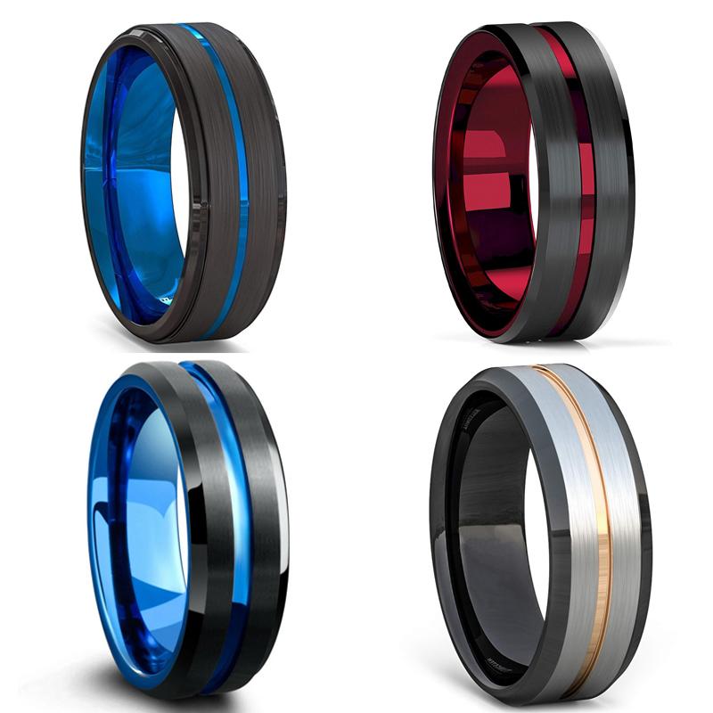 FDLK   8MM Men's Black Stainless Steel Ring Blue Red Groove Beveled Edge Wedding Engagement Anniversary Ring Jewelry For Men