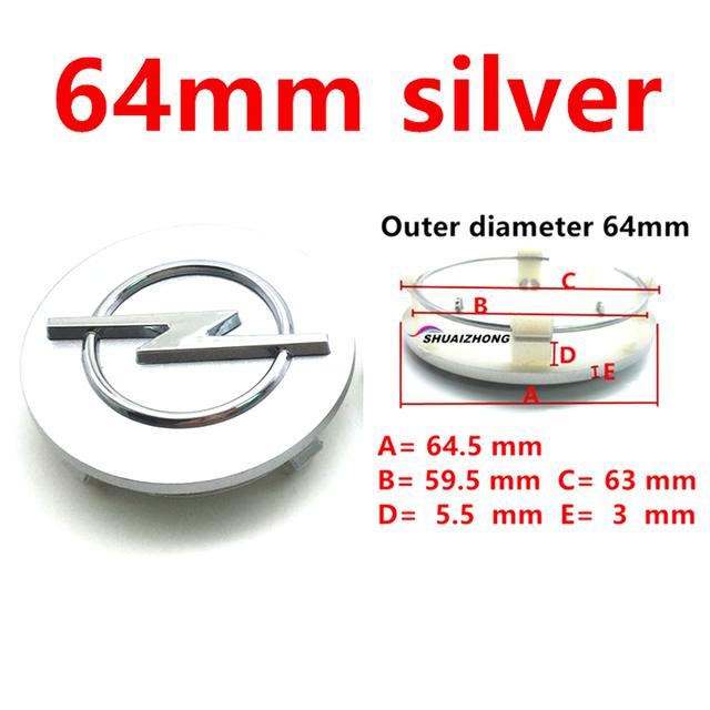 4pcs 64mm Silver