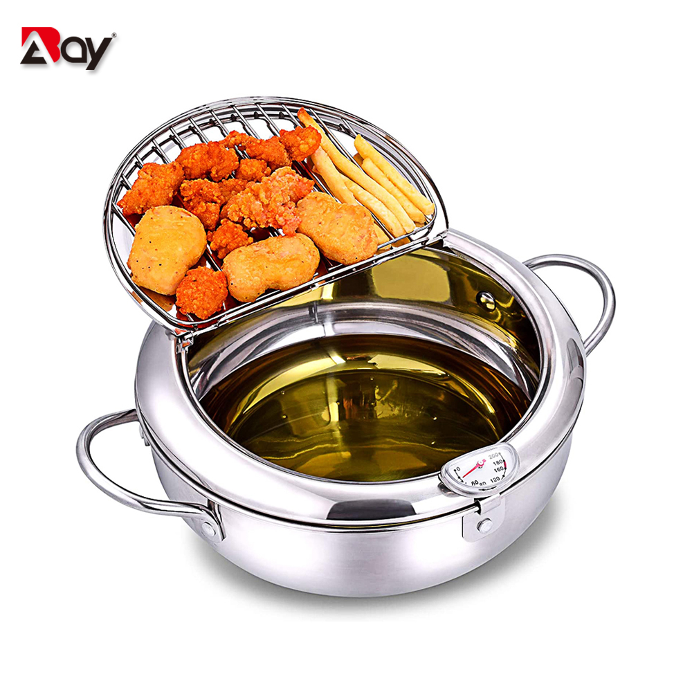 Tempura Temperature Meter Frying Deep Fryer Pot Pans Induction Heating Stainless Steel Grill Pan Lid Kitchen Utensils Cookware