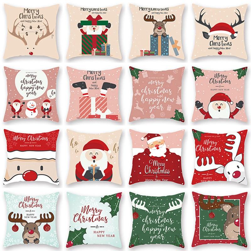 Merry Christmas Cushion Cover Santa Claus Elk Christmas Decoration For Home 2021 Christmas Ornaments Natal Navidad New Year 2022