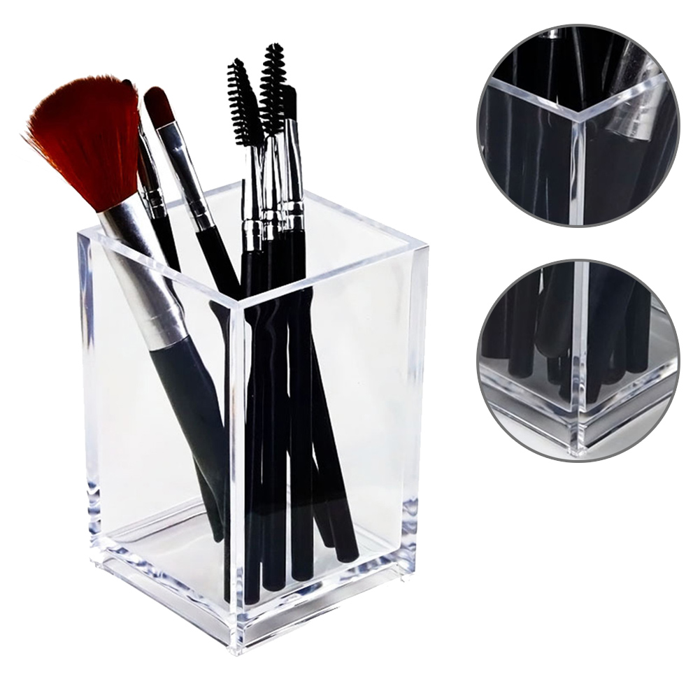 Transparent Makeup Brush Holder Organizer Plastic Pen Holder Desk Table Cosmetic Storage Box Acrylic Jewelry Box Container
