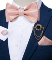 Pink Plaid Solid Men's Self Tie Bow Tie Silk Jacquard Woven Wedding Party Bowtie Hanky Brooch Set Men Butterfly Necktie DiBanGu preview-2