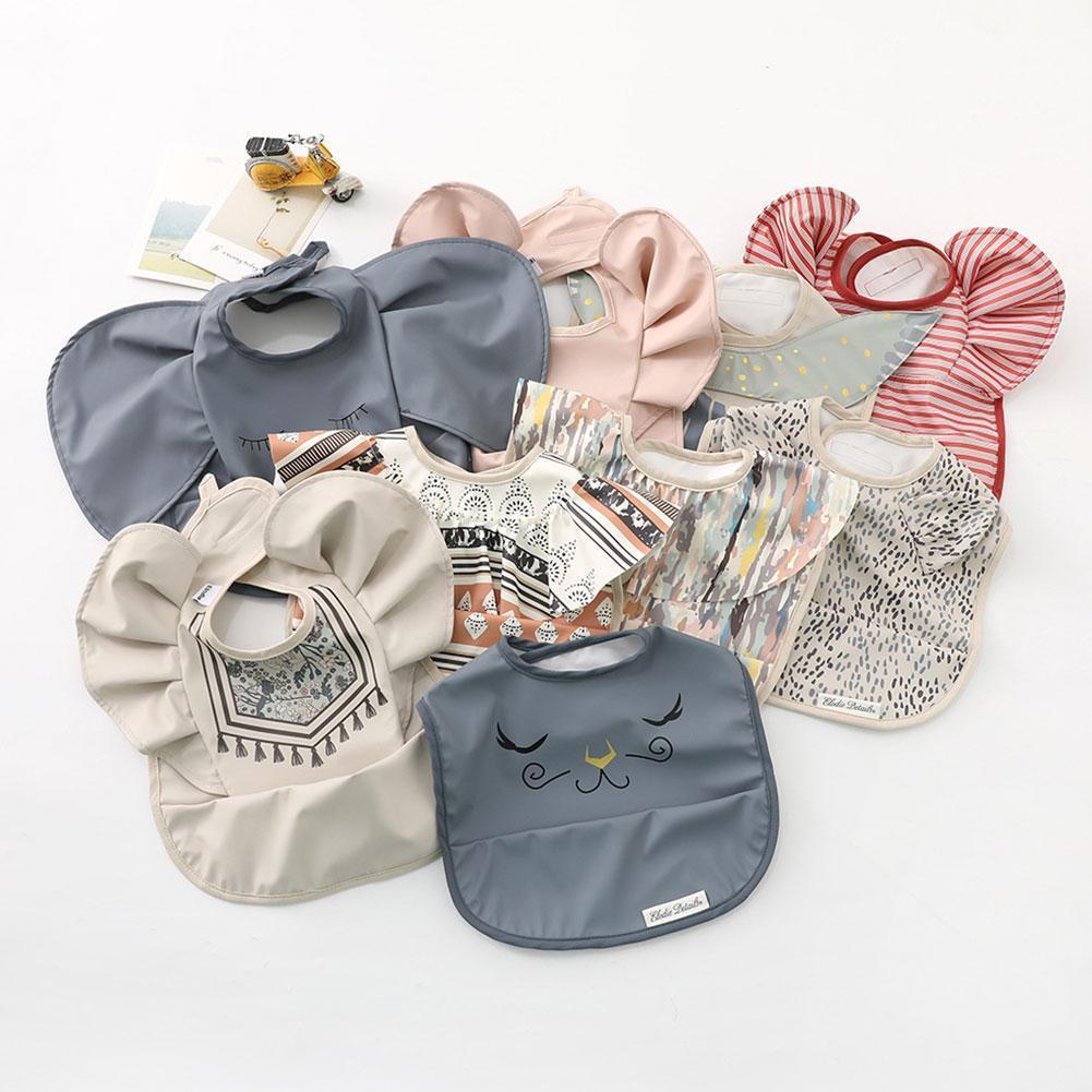 Baby Cotton Bib INS Nordic Style Angel Feed Pocket Burp Girl Boy Infant Saliva Towel Decorative Dot Print Bibs Cloths New