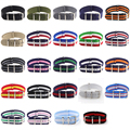 18mm 20mm  NATO Army Sports brand Nylon fabric belt accessories belt buckle bands 007, James bond. black 20mm watch strap preview-1