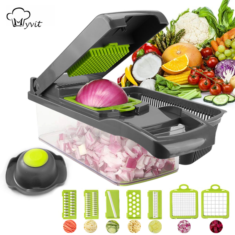Vegetable Cutter Vegetable Slicer Fruit Peeler Grater for Vegetables Chopper Multi Drain Basket 8 In 1 Kitchen Gadgets
