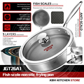 KOBACH frying pan 26cm honeycomb nonstick pan 304 stainless steel frying pan kitchen nonstick skillet frying pan with lid preview-2
