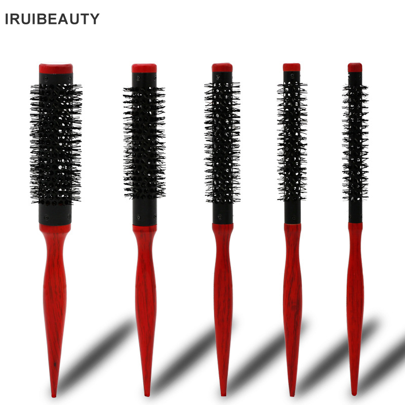 Bristle Wavy Curly Hair Brush Wood Handle Natural Fluffy Roll Brush Red Round Hair Comb Salon Hairdressing Styling Curler Comb