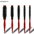 Bristle Wavy Curly Hair Brush Wood Handle Natural Fluffy Roll Brush Red Round Hair Comb Salon Hairdressing Styling Curler Comb preview-1