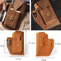 Retro Belt Waist Men's Bag Sports Running Outdoor Sports Cell Phone Leather Waist Bag For 2 Phone Men Multi-Function Key Pen Be preview-4