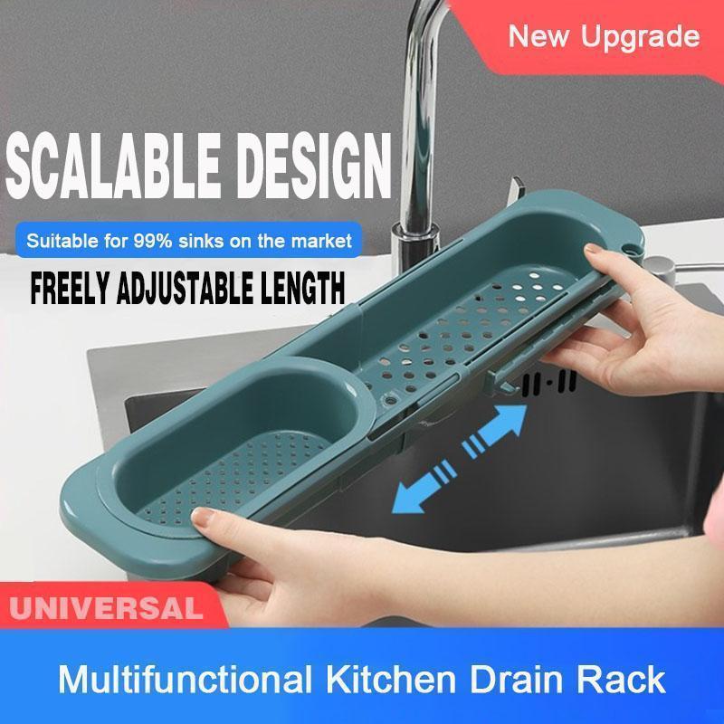Kitchen Sink Rack Organizer Telescopic Drain Rack Dish Washing Filter Drain Storage Basket Adjustable Sponge Soap Hanging Holder