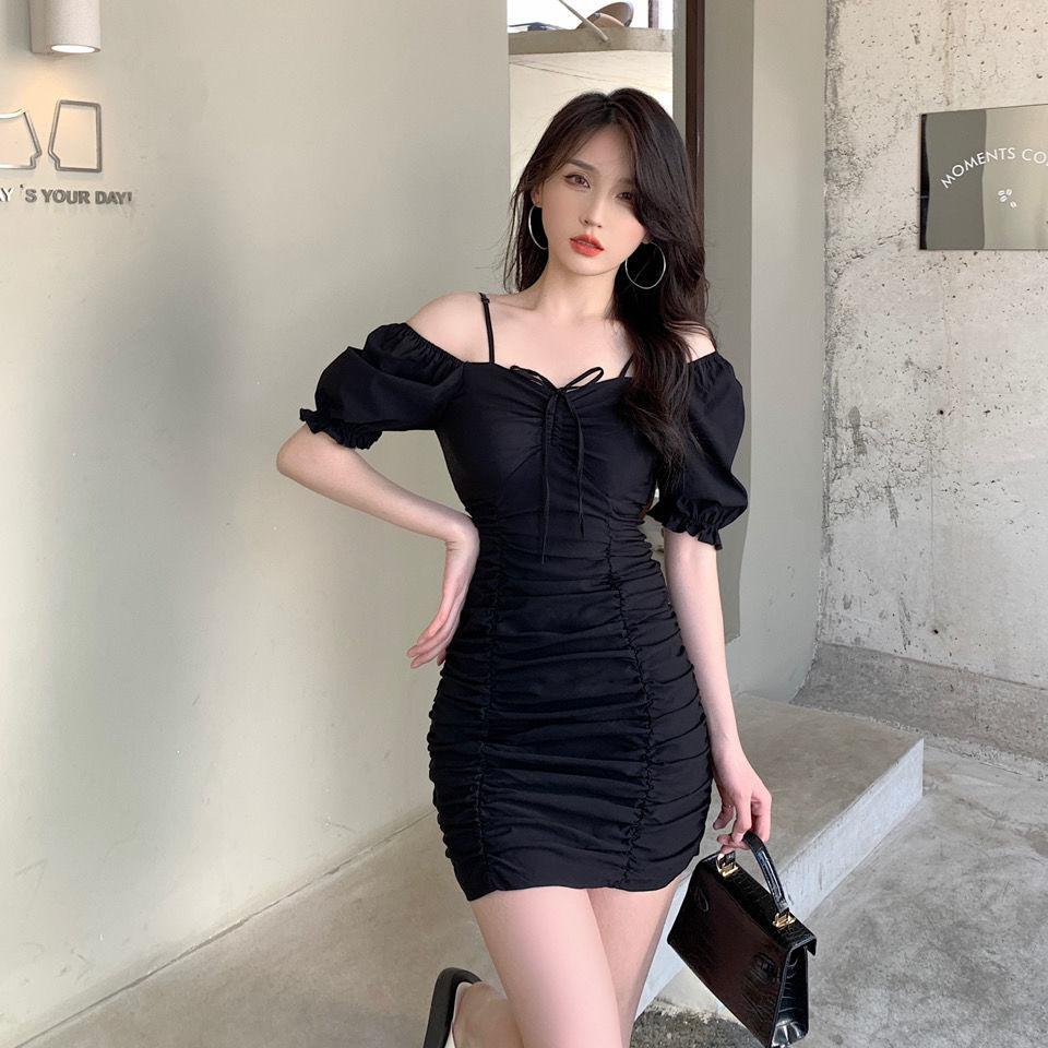 Summer 2021 New Korean Style Elegant French Style Lightly Mature Puff Sleeve Pleated Drawstring Slim Slimming Dress for Women