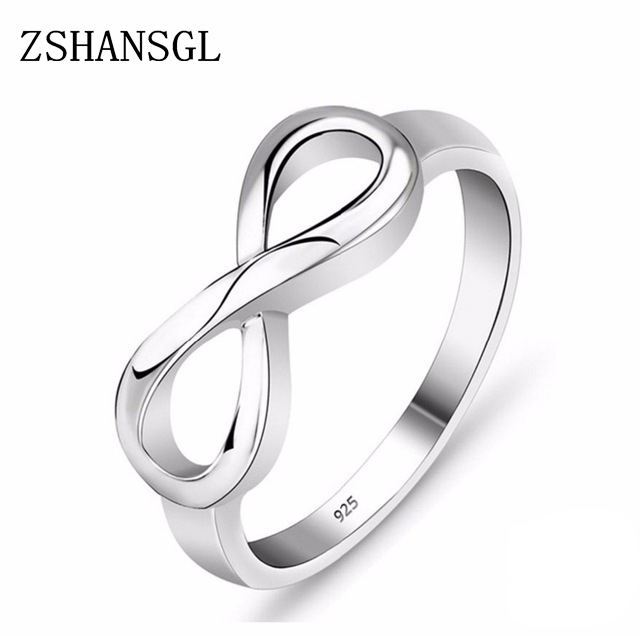 Fashion Silver color filled Ring Infinity Eternity Endless Love Gift Rings for Women Wedding Jewelry gift Anillos Mujer