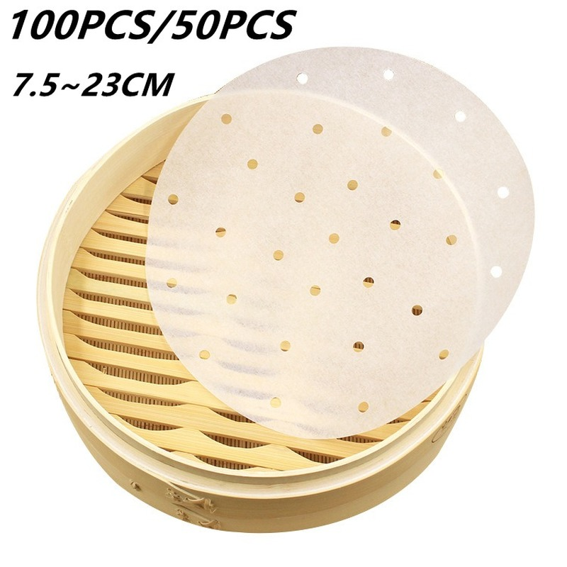 100/50 Pcs Air Fryer Steamer Liners Premium Perforated Wood Pulp Papers Non-Stick Steaming Basket Mat Baking Cooking Tools