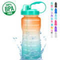 QuiFit 2L 3.8L One Gallon Water Bottle with Straw Motivational & Time Markings Drinking Jug BPA Free GYM Tritan Sports Jugs preview-1