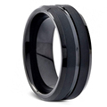 FDLK   8MM Men's Black Stainless Steel Ring Blue Red Groove Beveled Edge Wedding Engagement Anniversary Ring Jewelry For Men preview-4