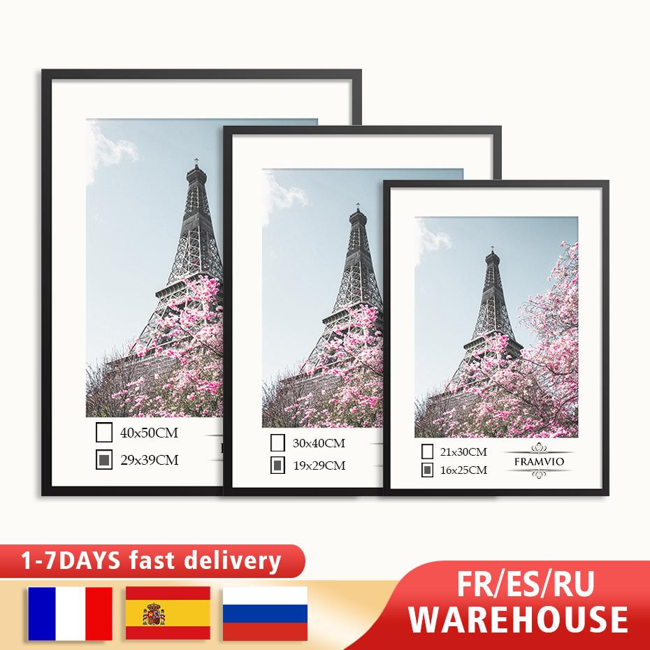Modern Wall Picture Frames Metal Photo Black Golden White Mat Plexiglass 50x70 40x50 30x40 A4 cm Poster Canvas Print Home Decor