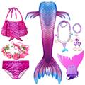 Swimming Mermaid Tail Kids Girls Costume Cosplay Children Swimsuit Fantasy Beach Bikini Can Add Monofin Fin preview-6