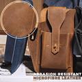 Retro Belt Waist Men's Bag Sports Running Outdoor Sports Cell Phone Leather Waist Bag For 2 Phone Men Multi-Function Key Pen Be preview-2