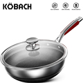KOBACH kitchen wok 28cm kitchen nonstick frying pan stainless steel skillet honeycomb nonstick pan kitchen frying pan with lid preview-1