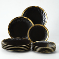 18pc Set Cutlery Plate Tray Set Luxury Black Dinnerware Kitchen Tool Porcelain Dinner Gold Soap Ceramic Food Dessert Plate Bowl preview-2
