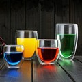 HOT Sale 250/350/450ml Handmade Glass Cups Heat Resistant Double Wall Coffee Drinks Glass Cups Transparent Tea Beer Milk Glasses preview-1