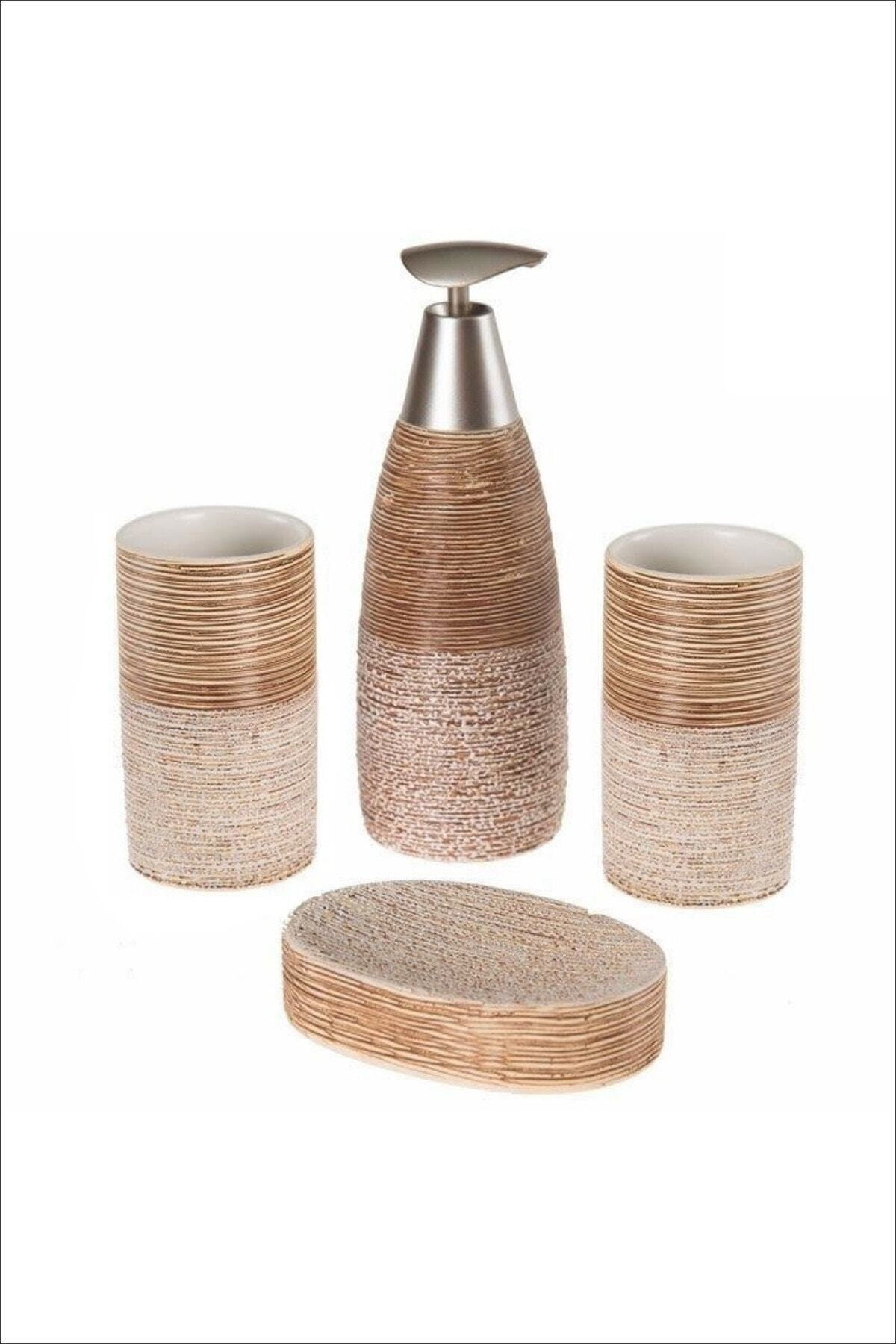 Luxury Ceramic Bathroom Accessory Set 3/4 Piece Marble Soap Dispenser Pump Bottle Couple Mouthwash Cup Dish Washing Tools