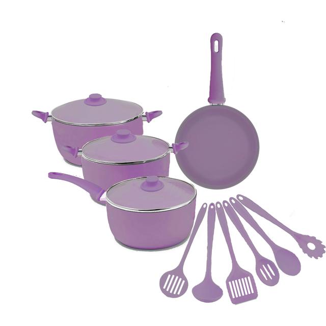 Nonstick Frying Pan Pink Kitchen 13 Pieces Premium Stone Cookware Set Pan Set with Glass Cover Deep Fryer Saucepan Pot Set Cook